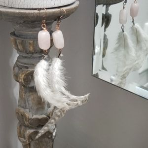 Rose Quartz and Feather Earrings, Handcrafted